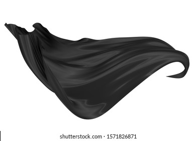 Abstract background of black wavy silk or satin. 3d rendering image. Image isolated on white background.