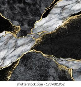 abstrakter Hintergrund, Mosaik aus schwarzem und weißem Marmor mit goldenen Venen, japanische Kintsugi-Technik, künstlich gemalte Gesteinsstruktur, marmorierte Oberfläche, digitale Marmorillustrierung