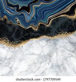 abstrakter Hintergrund, blauer Atem mit goldenen Adern, weißer und schwarzer Marmor, gefälschte, künstliche Steinstruktur, marmorierte Oberfläche, digitale Marmorgrafik