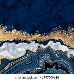 abstrakter Hintergrund, blauer Atem mit goldenen Adern, weißer Marmor, gefälschte, künstliche Steintextur, marmorierte Oberfläche, digitale Marmorgrafik