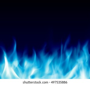 Abstract background with blue burning fire flames. Fiery banner design template with copyspace