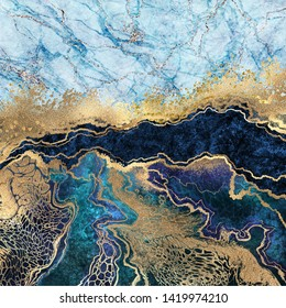 abstract background, blue marble, fake stone texture, liquid paint, gold foil and glitter decor, painted artificial marbled surface, fashion marbling illustration