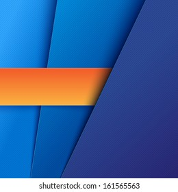 Abstract background with blue and orange paper layers