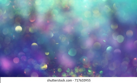 Abstract background, bokeh light glistening on purple and turquoise color shades, blurred, perfect as backdrop or wallpaper, a dreamy atmosphere for your design..