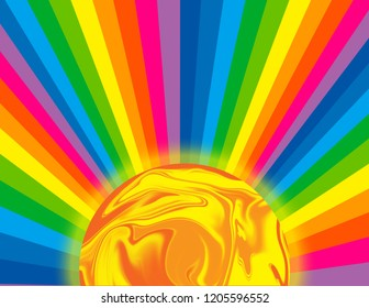 Abstract background of a brightly coloured rainbow perspective rays with a glowing sun.