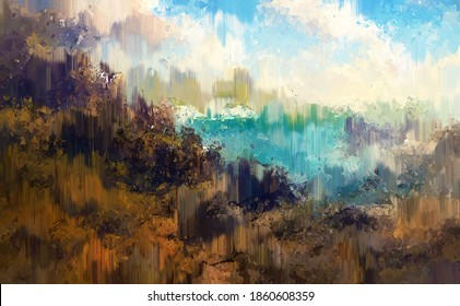 Abstract background with brush strokes in grunge digital colorful painting style.
