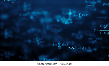 Abstract background. The camera flies past a large number of financial formulas on a dark background. Business concept. 3d render. School education presentation or graduation project.