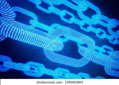 Abstract background with chain concept. Medical Blockchain. DNA Base Pairs Blockchain. Adenine, thymine, cytosine and guanine are four nucleotides in DNA - ATCG, 3D Rendering