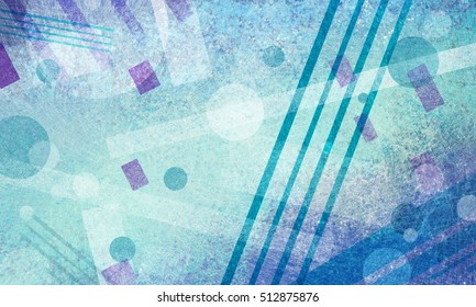abstract background with circle square diamond and rectangle shapes layered in abstract pattern on blue green background, modern abstract art background print, cool artsy random geometric design