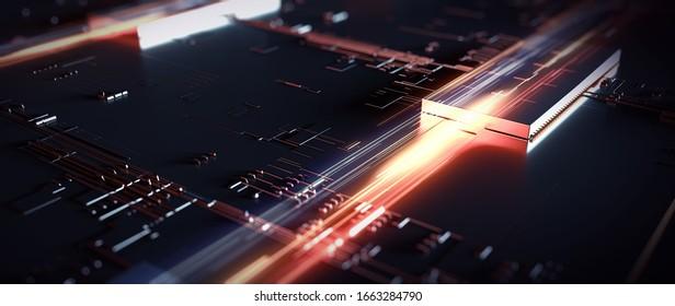Abstrakter Hintergrund-Schaltkreis futuristischen Server. Kann als digitales dynamisches Hintergrundbild, Technologie-Hintergrund verwendet werden. Futuristischer Server für 3D-Rendering/Printschaltung