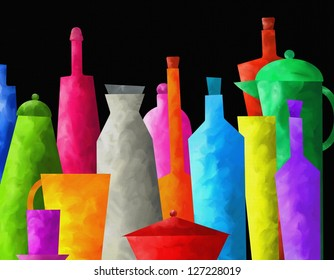 abstract background with colored bottles