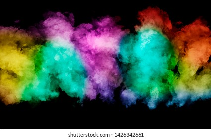 abstract background colorful smoke isolated on black