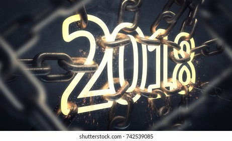 Abstract background. Concept two thousand eighteenth year 2018 on chain. 3d Illustration