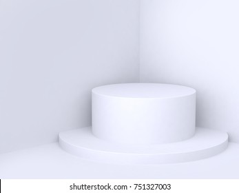 abstract background corner wall with geometric shape cylinder podium 3d rendering minimal white background