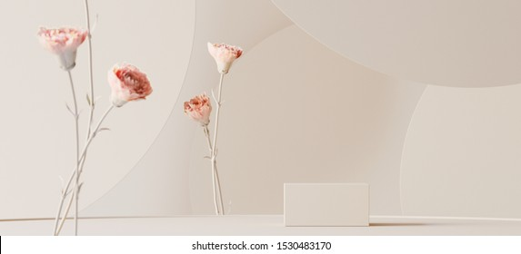 Abstract background for cosmetic product branding, identity and packaging inspiration. Podium with pink carnations and earth tone circular geometry background. 3d rendering illustration.