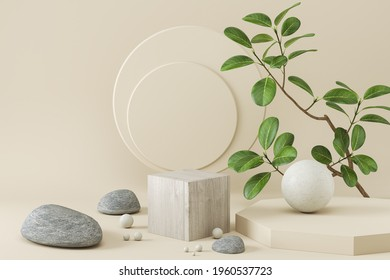 Abstract background for cosmetic product display, stone podium minimal background. 3d rendering.