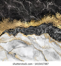 abstract background, creative texture of marble and gold foil, decorative marbling, artificial fashionable stone, marbled surface