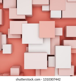 Abstract background  with cubes in coral tones and top view. 3D illustration.