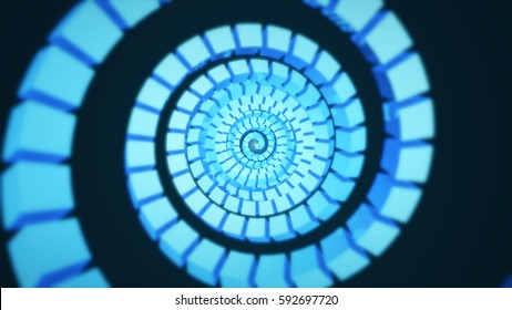 Abstract background with cubes rotating. Technology concept backdrop. 3D rendering