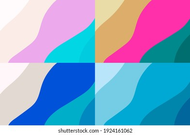 Abstract background With curves and pastel colors 4 shades