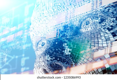 Abstract background of cyborg face and technology.Big data and learning machine.3d illustration.Algorithm programming and artificial intelligence concept