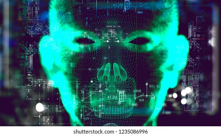 Abstract background of cyborg face and technology.Big data and learning machine.3d illustration.Algorithm programming and artificial intelligence concept.Biometrics and facial recognition