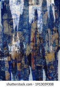 Abstract background with dark blue oil paint and torn paper.