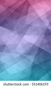 abstract background design, geometric lines angles shapes in white layers of transparent material on pink purple and teal blue background color