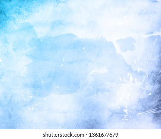 Abstract background with a detailed blue painted watercolour texture