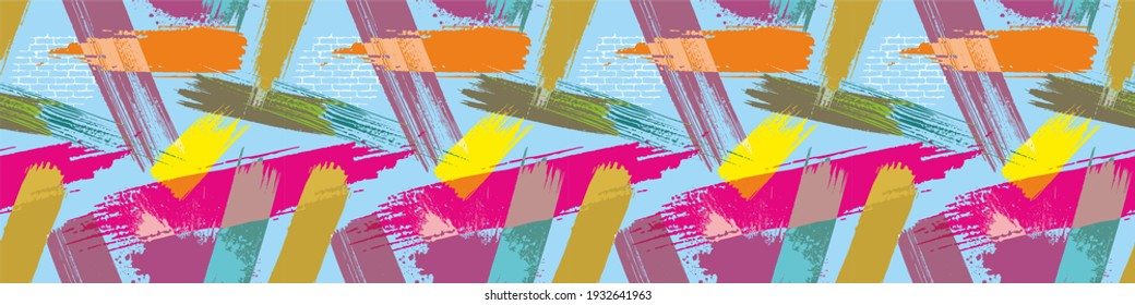 Abstract background with diagonal brush strokes. Painted handmade texture. Seamless pattern with paint strokes. Dirty artistic design elements.