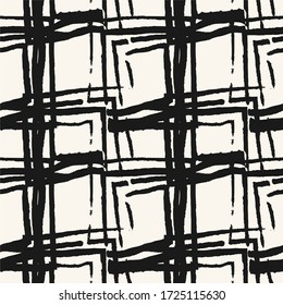 Abstract background with diamonds or squares. Bold textured brush strokes. Monochrome hand drawn texture. Hipster graphic design.