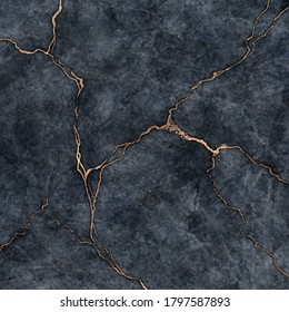 abstract background, digital marbling illustration, black marble with white veins and golden cracks, fake painted artificial stone texture, marbled surface