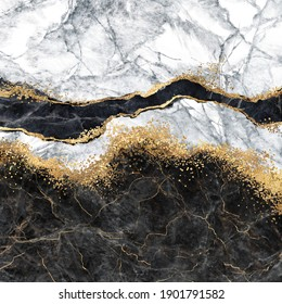 abstract background, digital marbling illustration, black and white marble with golden veins, fake painted artificial stone texture, marbled surface