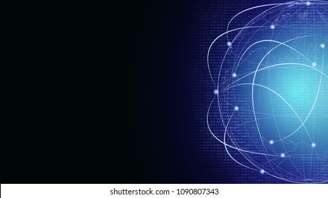 Abstract Background digital technology network communication help connect people globally for social media networking, online banking fintech transaction . Elements of this image furnished by NASA
