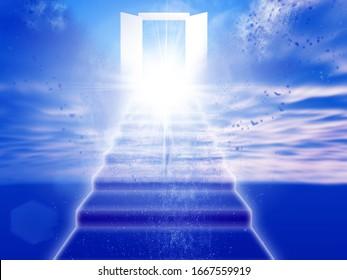 Abstract background with door to heaven open