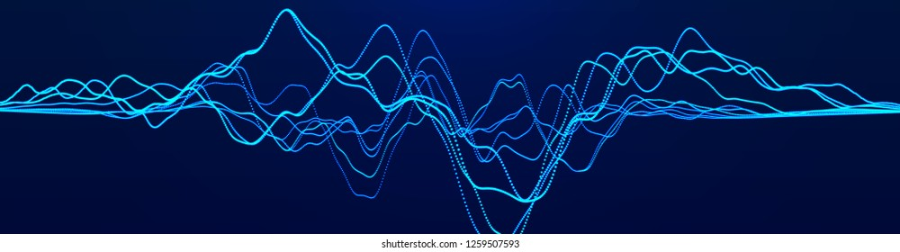 Abstract background with dynamic waves. Big data visualization. Sound wave element. Technology equalizer for music. 3d rendering.