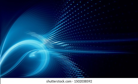 Abstract background element. Fractal graphics series. Three-dimensional composition of dynamic curves and mosaic halftone effects. Wide format high resolution image. 3d illustration.