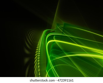 Abstract background element. Fractal graphics series. Composition of glowing lines and mosaic halftone effects. Nature and energy concept. Green and black colors.