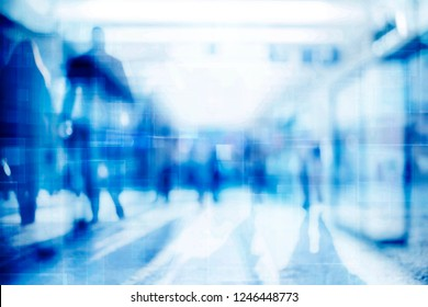 Abstract background of empty space with silhouettes of people passing by, lasers crossing over, futuristic concept