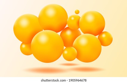 Abstract background with falling 3d balls. Dynamic flying colorful bubbles, futuristic composition with glossy spheres. Modern trendy banner or poster design. Realistic 3D illustration.