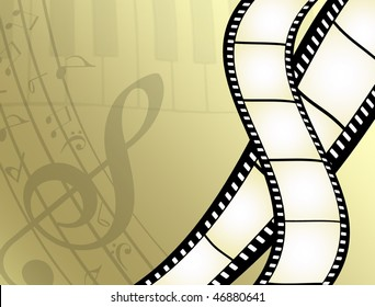 abstract background with film strip, piano keys and musical notes - more available