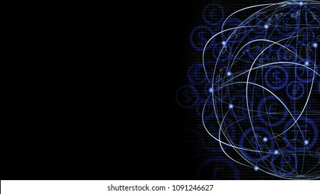Abstract Background financial digital technology network communication connect people globally with blockchain networking, digital banking fintech transaction Elements of this image furnished by NASA