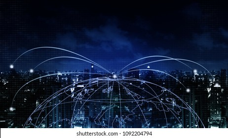 Abstract Background financial digital technology network communication connect people globally with blockchain networking, online banking fintech transaction Elements of this image furnished by NASA