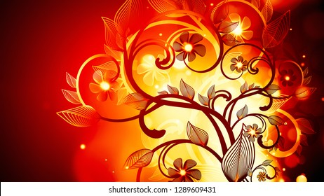Abstract background with fire floral ornament