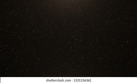 Abstract background of flickering gold particles and light flare