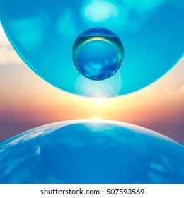 An abstract background floating crystal balls amid horizon sun, 3d illustration.