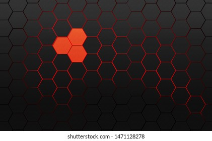 Abstract background. Frame filled with dark gray hexagons with red background with 3d effect.