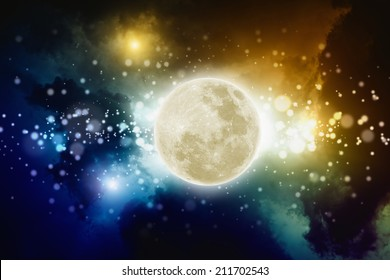 Abstract background - full moon in night sky with bright lights, conceptual picture for full moon party.  Elements of this image furnished by NASA