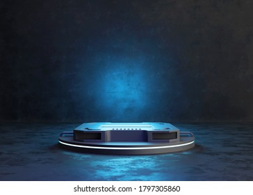 Abstract background, Futuristic pedestal for product presentation. 3D illustration