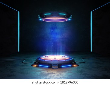 Abstract background, Futuristic pedestal for product presentation, Display modern. 3D illustration
